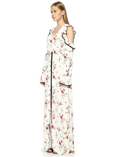 Fırfırlı Çiçek Desenli Uzun Elbise-Foxiedox